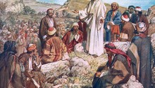 William Hole Jesus teaching crowds on a high plain